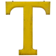 1960s Very Large Yellow Wooden Capital Letter T with Red Border Made in England