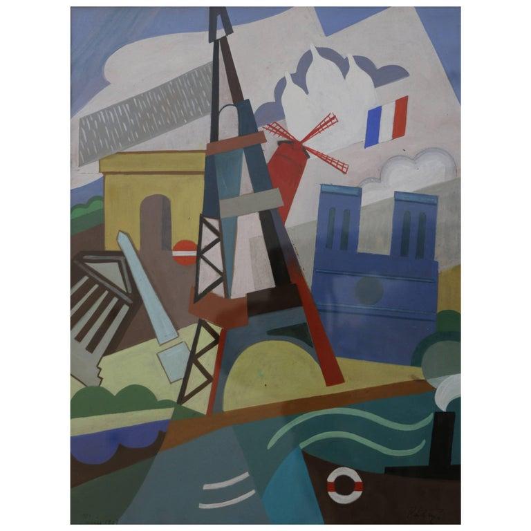 Eiffel Tower Cubist Painting by Pal Patzay Attributed, Hungarian School, 1923 For Sale