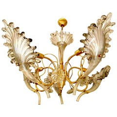 Franco Luce chandelier Murano Glass Gilt Frame, 1960
