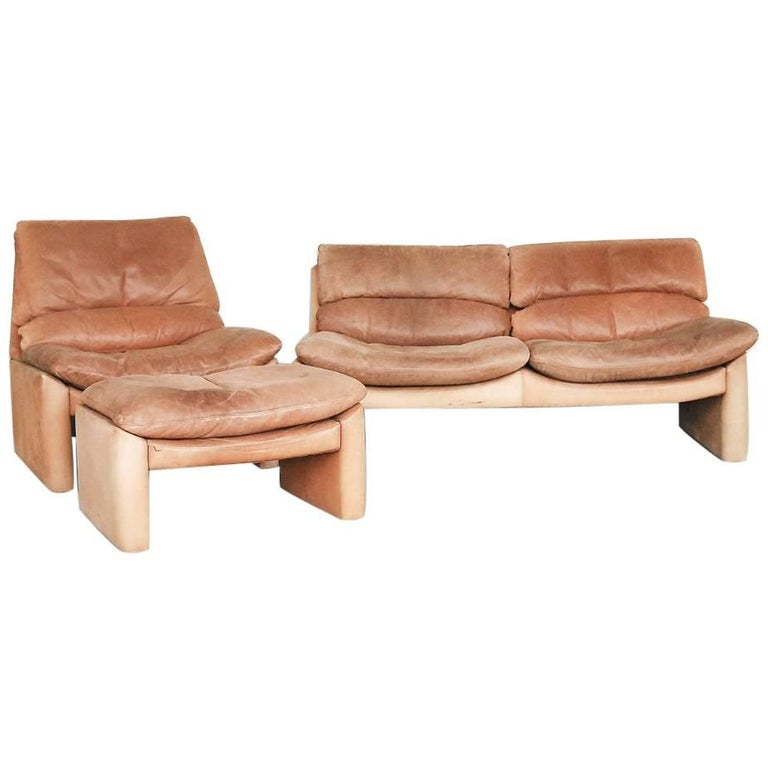 Vintage Leather Living Room Set, Sofa and Armchair from Walter Knoll, 1970s