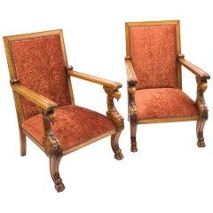 Pair of Flamboyant Irish Mahogany High Back Armchairs, circa 1840