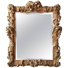 Antique French Walnut Carved Floral Gilt Mirror