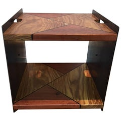 Steel, Rosewood and Eucalyptus Side Table