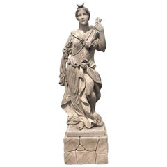 Early 19th Century Devine Diana Statue in Limestone from Italy