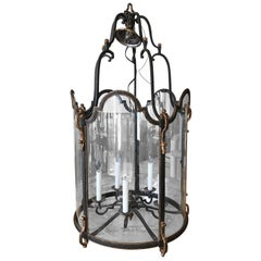Louis XVI Style  Wrought Iron and Glass Large Hanging Hall Lantern