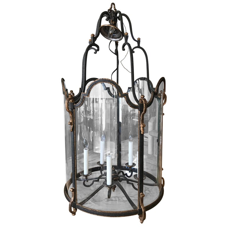Louis XVI Style  Wrought Iron and Glass Large Center Hall Lantern