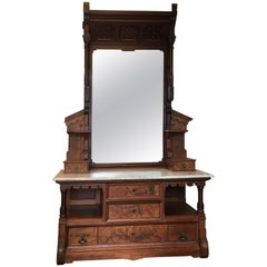 Late 19th Century Hand-Carved Victorian Gentleman's Dressing Mirror