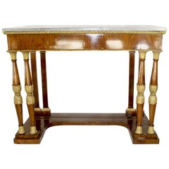Late 18th Century Italian Neoclassical Birchwood Pier Table with Marble Top