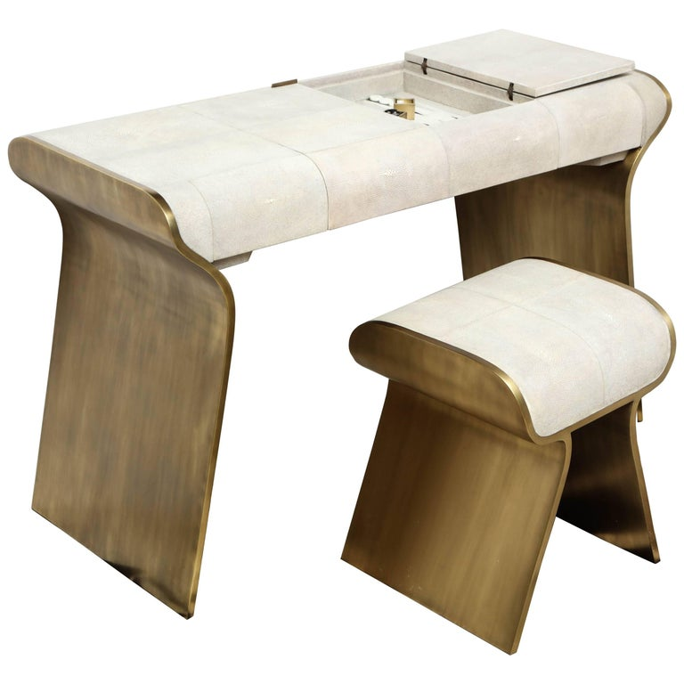 Shagreen and Bronze Desk with Stool