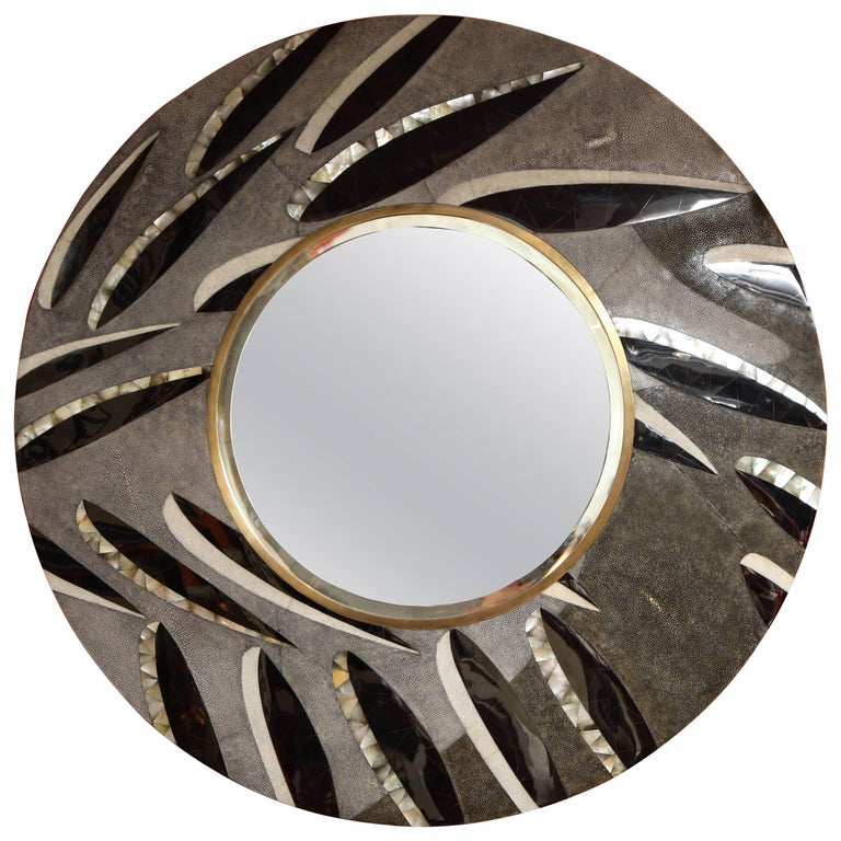 Shagreen Mirror With Bronze and Sea Shell Details