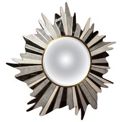 Mirror, Shagreen and Sea Shell Mirror, Star Burst Design, with Brass Details