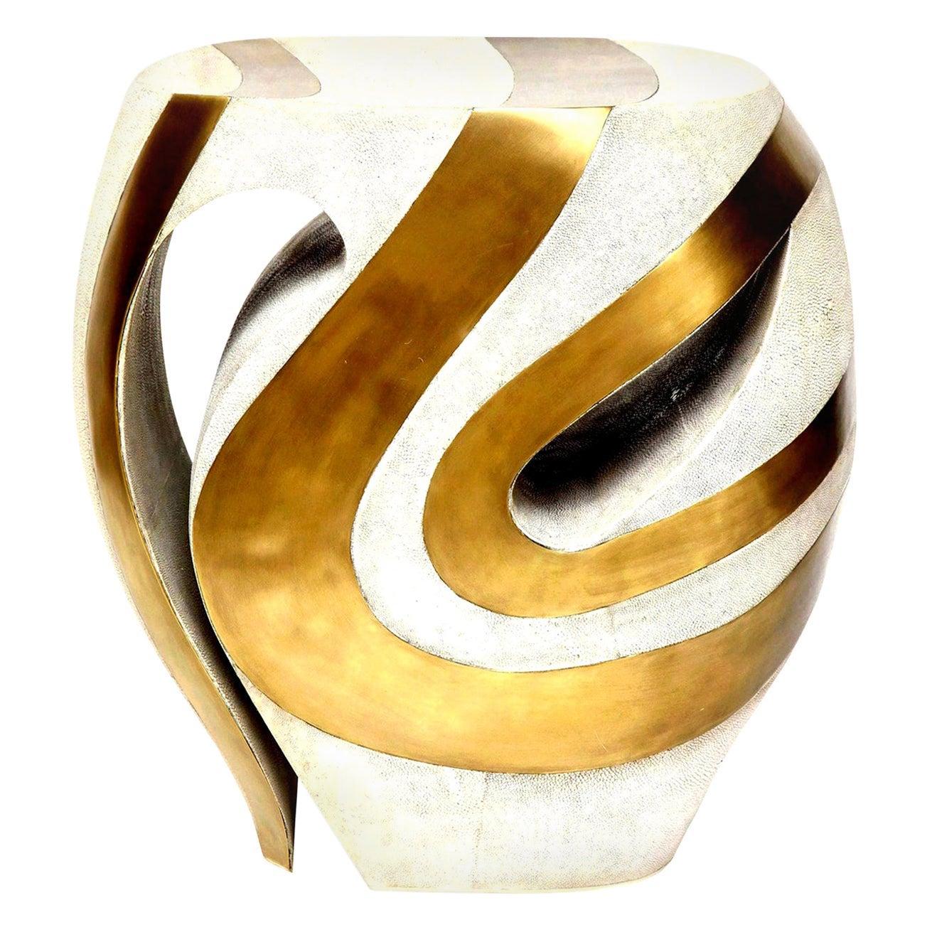 Shagreen Stool with Brass Details, Cream Shagreen, Organic Shape, Contemporary