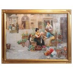 19th Century Italian Oil on Canvas Signed Cesare Vianello