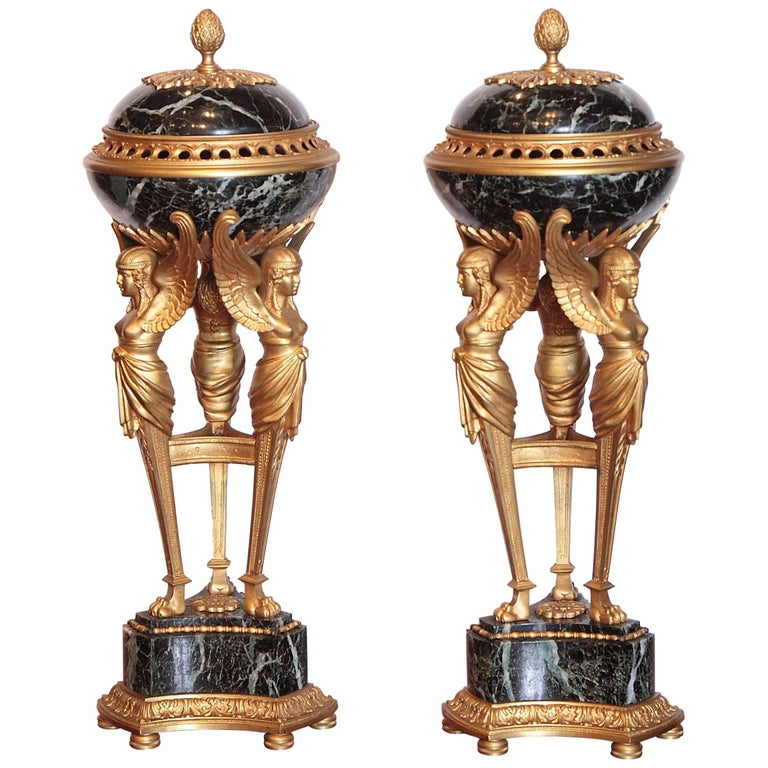 Pair of 19th Century Empire Gilt Bronze and Marble Tripod Lidded Urns