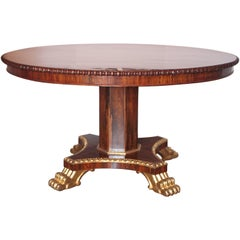 19th Century English Regency Mahogany and Rosewood and Parcel-Gilt Centre Table