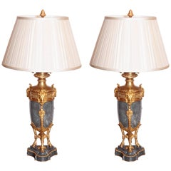 Pair of French 19th Century Louis XVI Marble and Gilt Bronze Rams Head Lamps