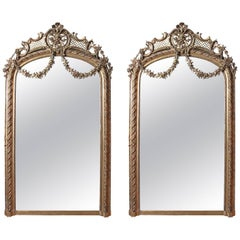 Pair of Palatial French 19th Century Gilt Carved Louis XV Mirrors