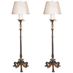 Pair of 19th Century Continental Bronze and Gilt Bronze Torchiere Floor Lamps