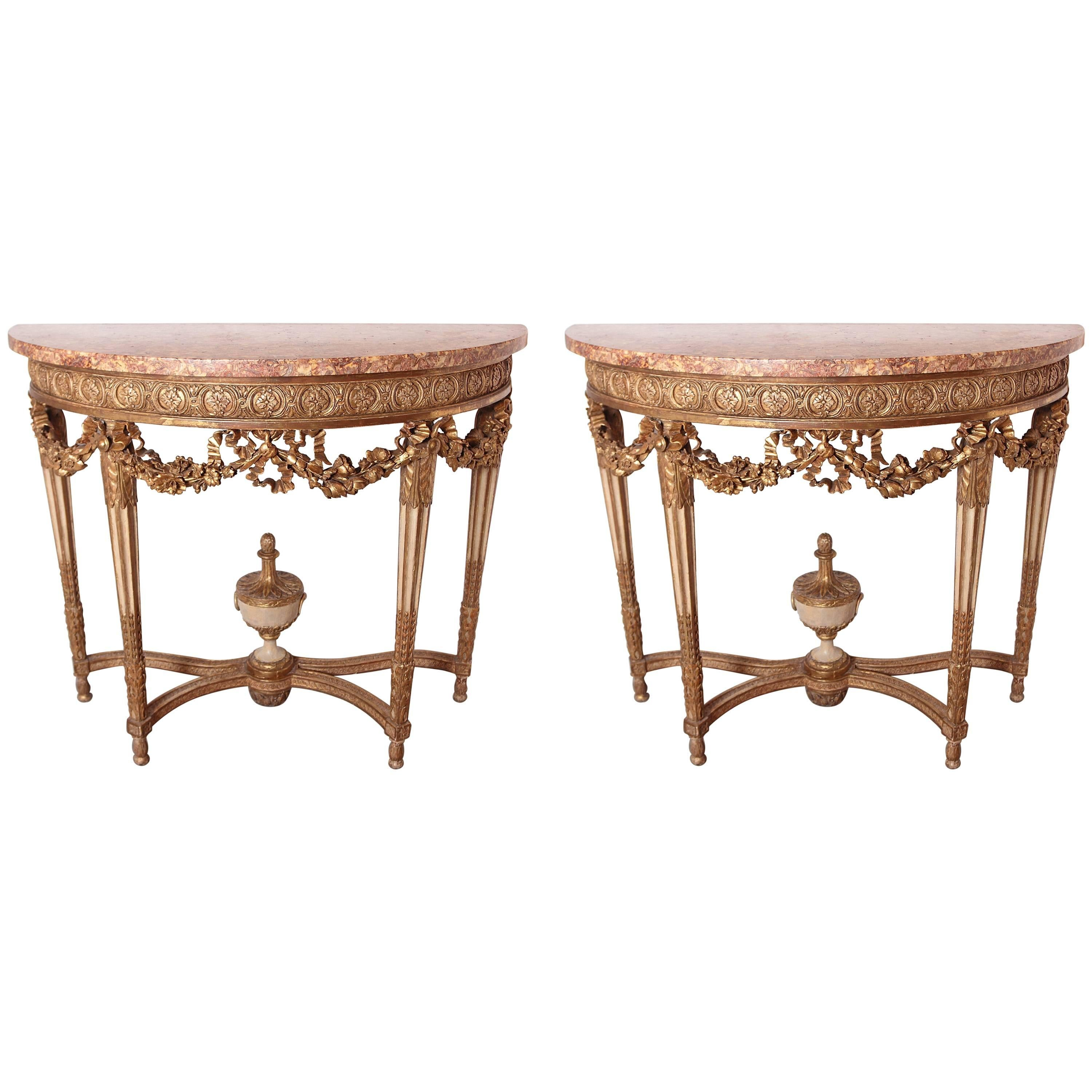 Early 19th Century French Louis XVI Gilt Carved and Cream Painted Consoles, Pair