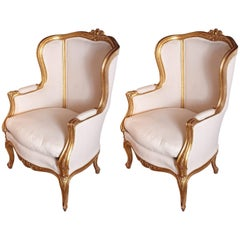 Pair of 19th Century French Gilt Louis XV Bergeres