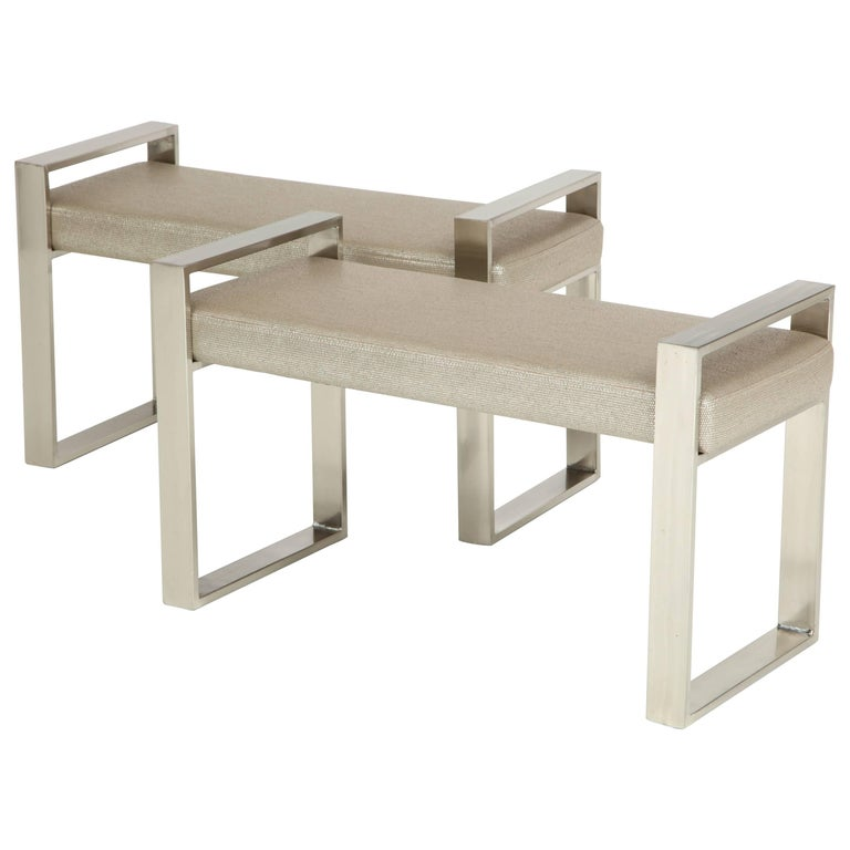 Pair of Polished Stainless Steel Upholstered Benches