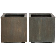Exceptional Square Pair of Planters by Forms and Surfaces
