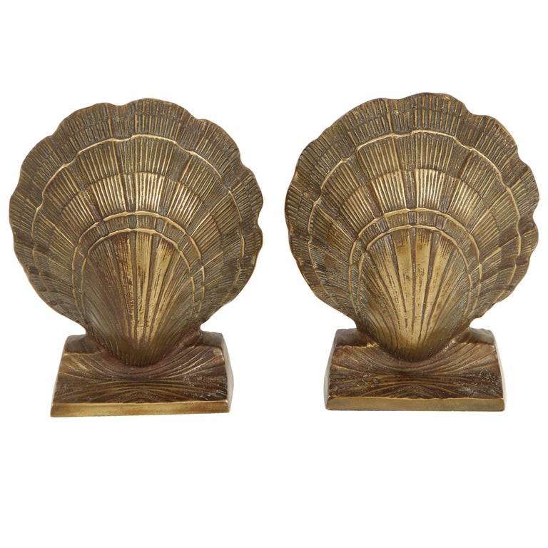 Pair of Brass Shell Bookends