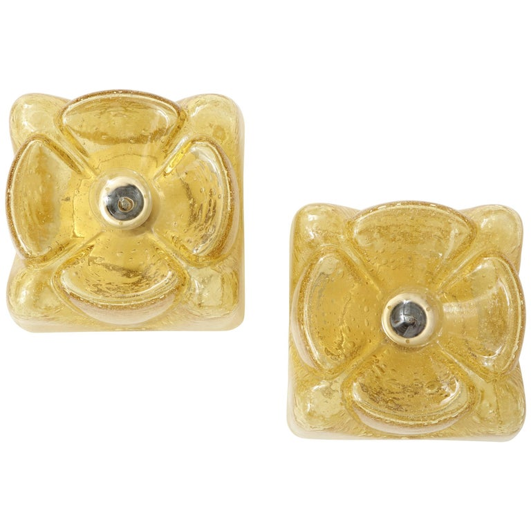Pair of Amber Glass Sconces by Doria