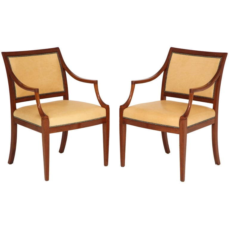 Pair of Frits Henningsen Mahogany and Leather Open Armchair, circa 1940s