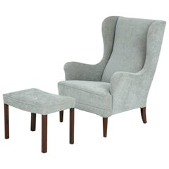 Stylish Danish Wing Chair with Associated Footstool, circa 1940s