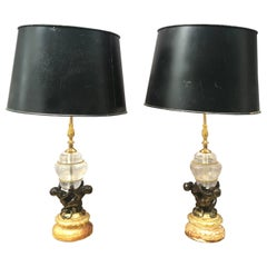 Pair of Rock Crystal Italian Bronze Lamps with Tole Shades