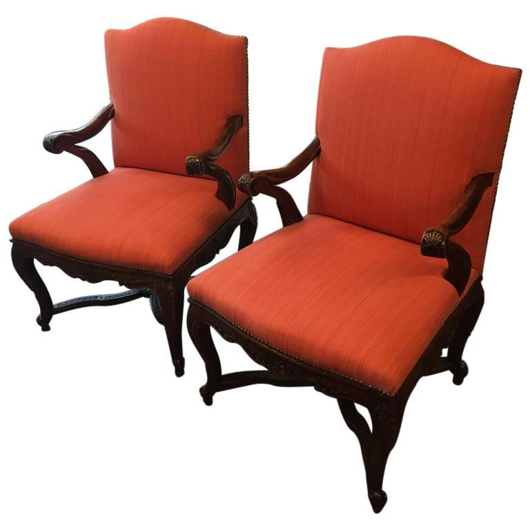 Pair of 19th Century Carved Walnut French Provincial Armchairs
