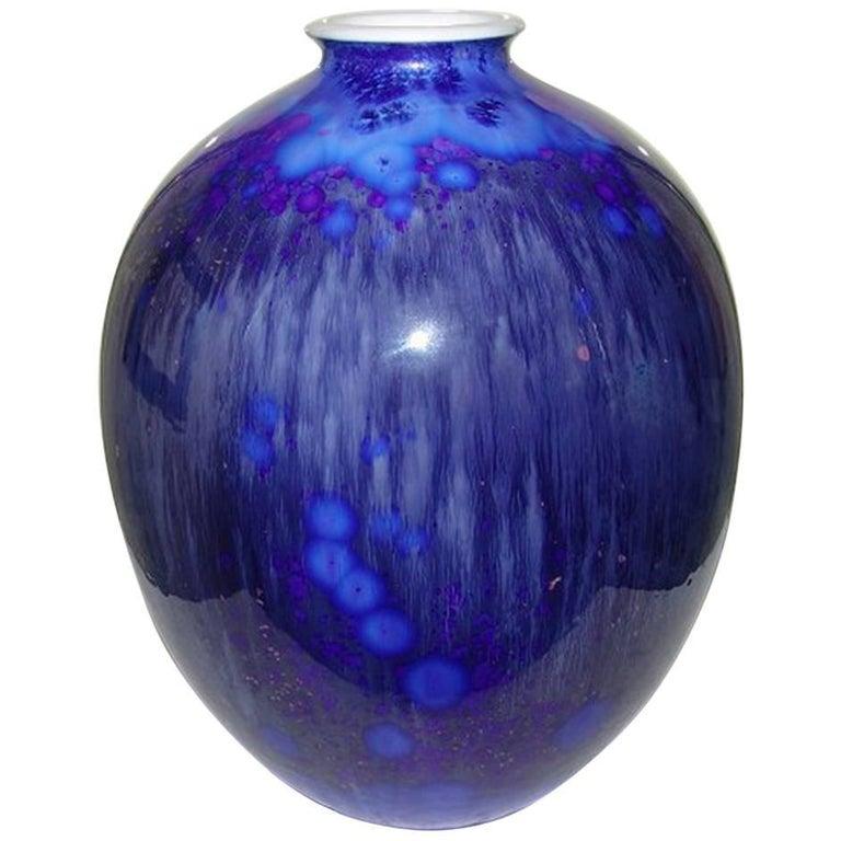 Royal Copenhagen Unique Crystalline Vase From 1927 By Sren Berg For