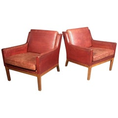 Danish 1960s Pair of Red Leather Lounge Chairs
