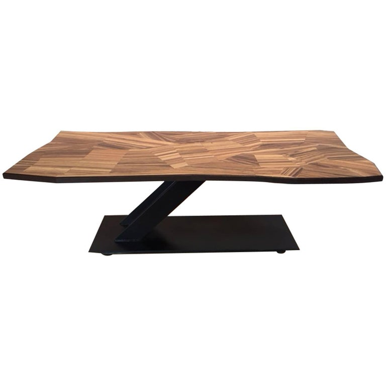 Zebrawood and Iron Coffee Table