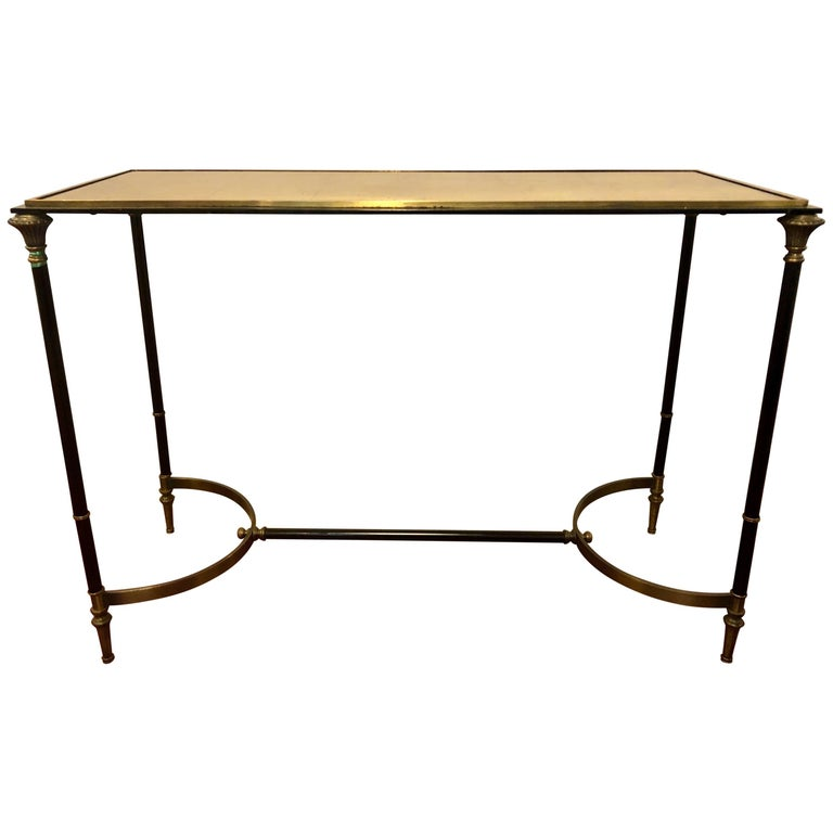 Hollywood Regency Style Black and Gold Console/Sofa Table Manner Maison Jansen