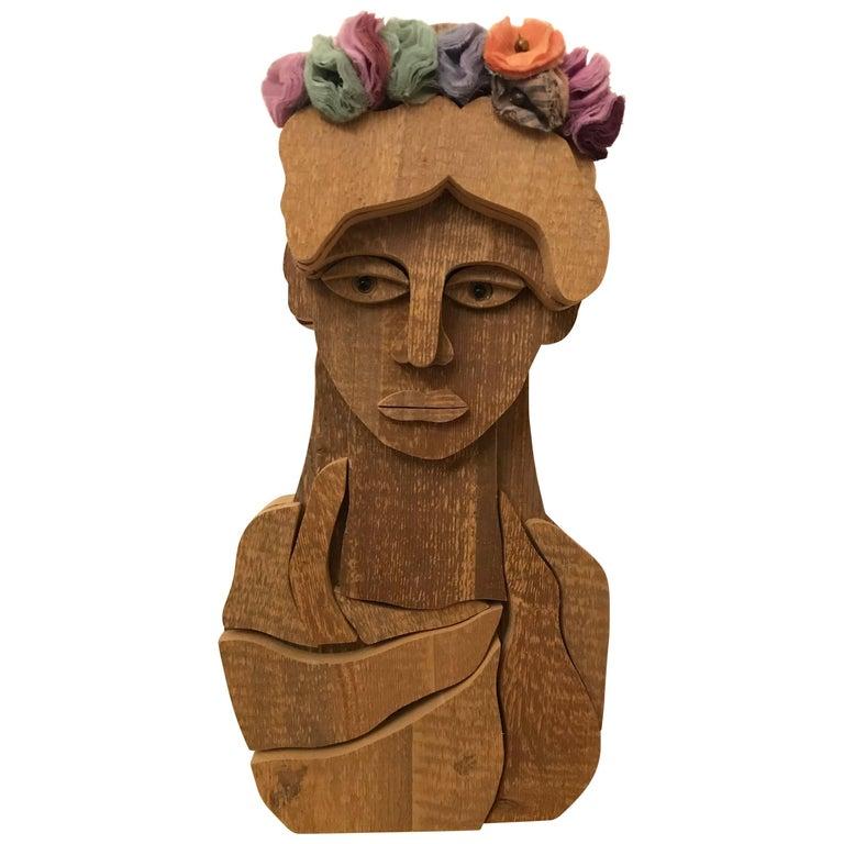 Modern Italian Wooden Sculpture Handmade - Renata