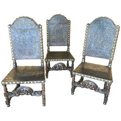 19th Century Portuguese Hand-Embossed Leather Chairs, Spanish Baroque Style