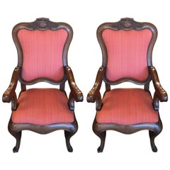 French Carved Walnut Frame Queen Anne Style Parlor Armchairs