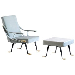 Ignazio Gardella Digamma Lounge Chair and Ottoman in Turquoise Donghia Velvet