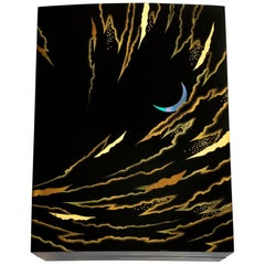 Box with Wavy Clouds and Crescent Moon