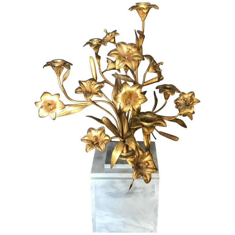 Gilt Bronze Lily Candelabra