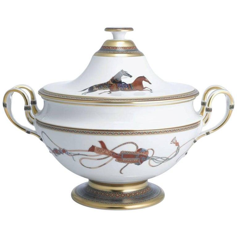 Hermes Cheval d'Orient Porcelain Soup Tureen For Sale