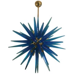 Blue Murano Glass Italian Chandelier with 20 Bulbs Brass structure, 1980s
