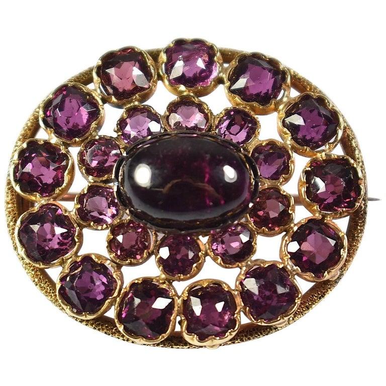14-Karat Almandine Garnet Victorian Era Brooch or Pin