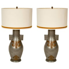 Pair of Asian Pewter and Brass Lamps