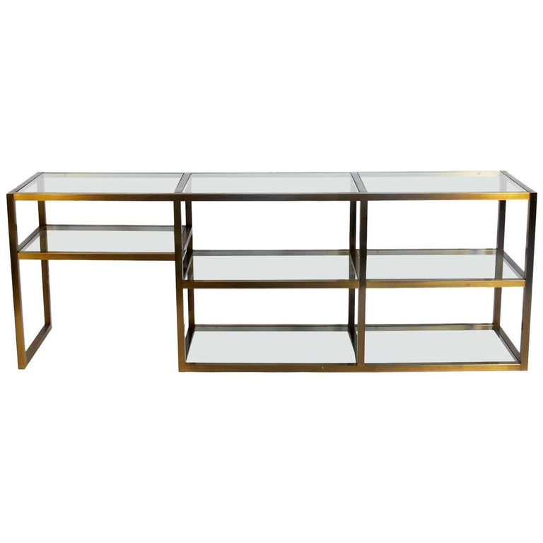 Clean Lined Brass and Glass Bookshelf or Vitrine For Sale