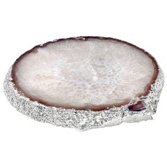 Travessa Platter Natural Agate and Silver, in Stock