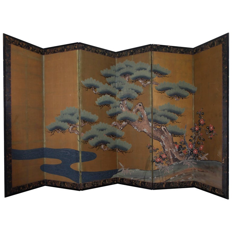 Vintage Six-Panel Asian Screen with Gold Leaf Decoration