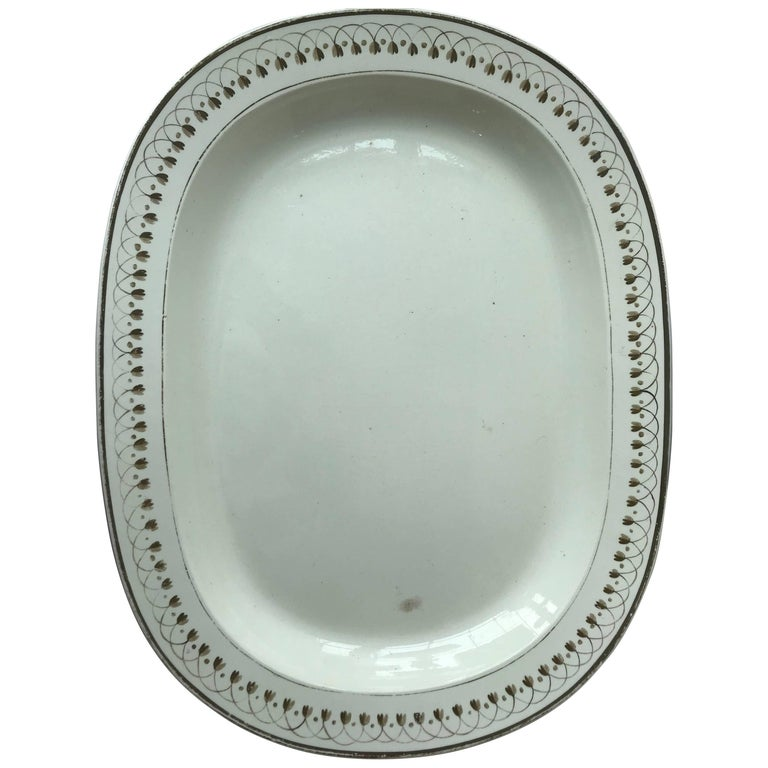 19th Century Small Oval Creamware Platter